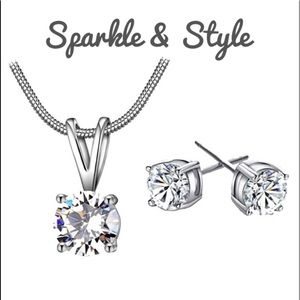 ✨ Silver plated  CZ earrings and necklace set ✨